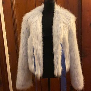 Gorgeous BLUE faux FUR coat Black Rivet XL Satin!